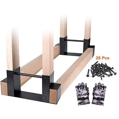 Best Price Firewood Log Rack Outdoor Wood Bracket Kit for Lumber Storage Adjustable Rack System - On...