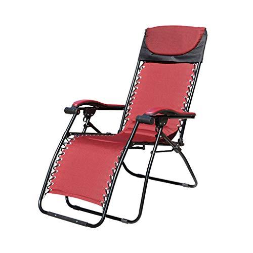 LRQZ-L Kreative Klappstuhl, Nickerchen Stuhl Büro Mittagspause Stuhl Erwachsenen Recliner Multifunktions Strandliege Metall Rot Klappstuhl (größe : 60 * 180cm)