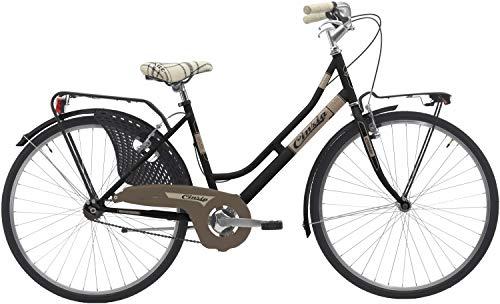 Cicli Cinzia Bicicletta 26' Citybike Donna Friendly, Senza Cambio, V-Brake Alluminio, Nero