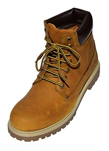 MADSea Damen Herren Leder Schnürstiefel Street Classic Boots Hellbraun, Farbe:Hellbraun, Größe:44 EU