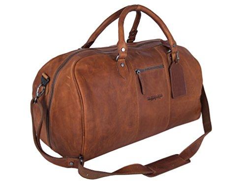 Profisparen Travel Bag Vintage Leather, Urbane Reise- Business- Ledertaschen (Cognac-Braun Weekender)