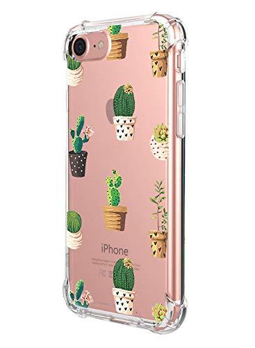 Suhctup - Carcasa para iPhone 6 / iPhone 6S [ultrafina] original suave silicona parachoques TPU Bumper transparente flor el ángulo refuerzo anti golpes protección