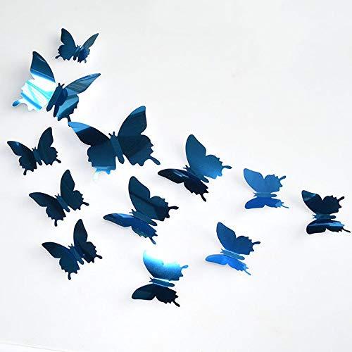 Gaddrt 12Pcs 3D Mirror Butterfly DIY Wall Stickers Home Room Art Decoration Silver Blue