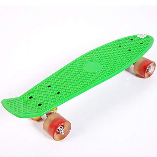 Adultos Completo Skateboard para Principiantes, Mini patineta de 22' con Tabla de Skateboard para Niñas Niños Adolescentes Adultos (Color : Green)