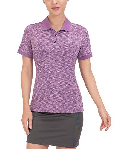 다사와메드 여자 퀵 드라이 스트레치 골프 셔츠 짧은 슬리브 모이스처 위킹 폴로 셔츠 자외선 보호 셔츠