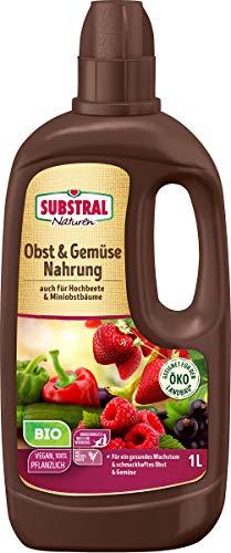 Substral Naturen Bio Obst & Gemüse Nahrung, Organischer Flüssigdünger für alle Obst- & Gemüsepflanzen auf Terrasse, Balkon und Beeten, 1 Liter