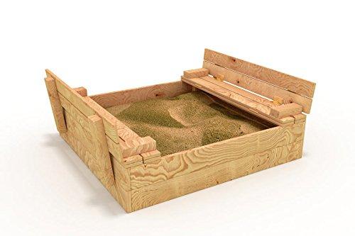 BIBEX Sandkasten mit Abdeckung / Sitzbänken - 110x115cm - Sandbox + Deckel