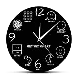 Historia De Arte Vintage Reloj De Pared Da Vinci Picasso Muesum Artista De Arte Moderno Reloj De Pared Decorativo Amante del Arte Regalo Negro 30x30cm