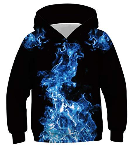 NEWISTAR Jungen Mädchen Kapuzenpullover Hoodie Kinder Langarm Pulli mit Kapuzen Sweatshirt Pullover,A-smoke (Schwarz),13-16 Jahre (Tag XL)