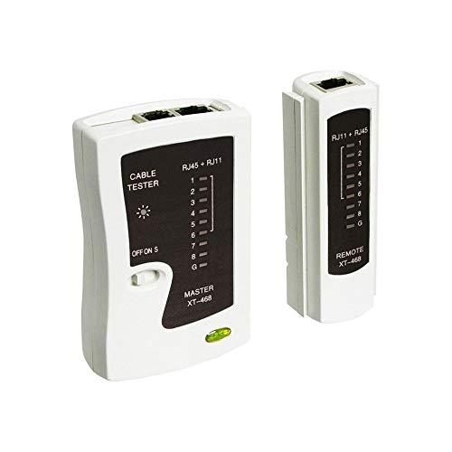 Goobay 68856 Netzwerk Kabeltester zur Prüfung von CAT5 CAT6 sowie ISDN Kabeln und Verbindungen