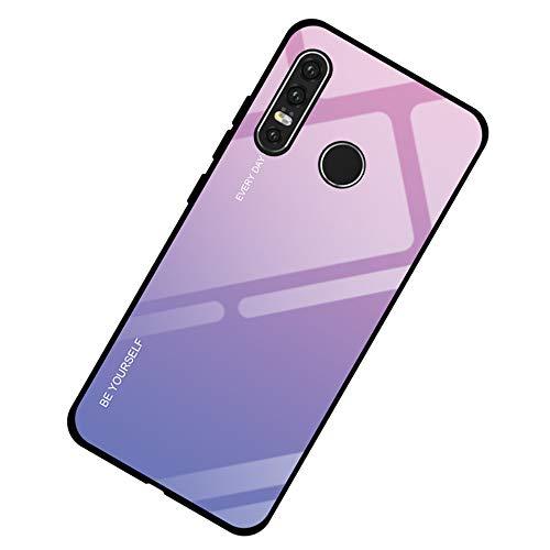 Alsoar - Funda ultra fina para Huawei P20 Lite - Funda protectora de cristal templado con marco de silicona suave antigolpes y antiarañazos P20 Lite Rosa morado.