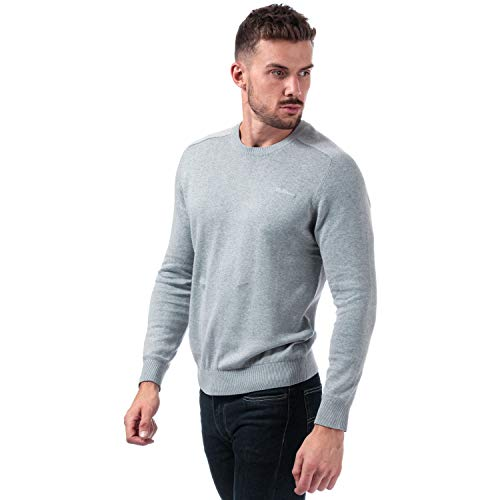 Mens Ben Sherman Saddle Crew Neck Knit in Grey