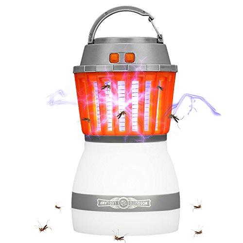 Rhino Valley LED UV Lámpara contra Mosquitos [Version Más Nueva], 2 EN 1 Linterna Acampada Asesino de Moscas Mosquito Repelente de Insectos Impermeable Al Aire Libre Adentro - Naranjado + Blanco
