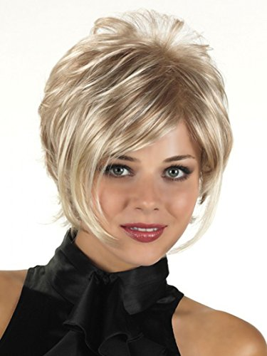 """GNIMEGIL Short Blonde Wigs for White Women Straight Bob Hair Wigs with Long Bangs Heat Resistant Synthetic Full Wigs for Women Head Circumference 23"""" N.W:110g"""