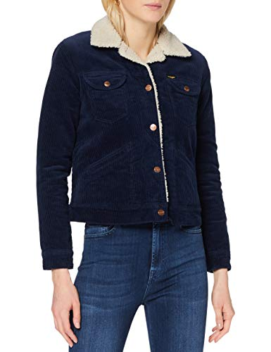 Wrangler Icons Sherpa Jacket Giacca in Denim, Inchiostro, L Donna