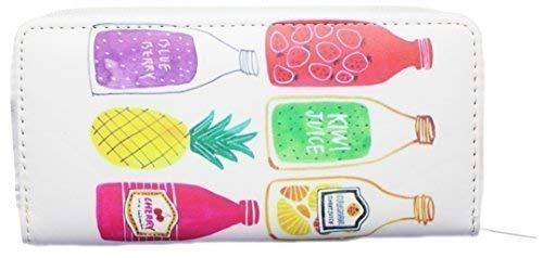 VINCENZA Damen Damen Lang Portemonnaie Portemonnaie mit Emoji Design Flamingo erdbeere wassermelone Gesicht Sommerspass UK Lager 10 Designs - Flaschen, LARGE