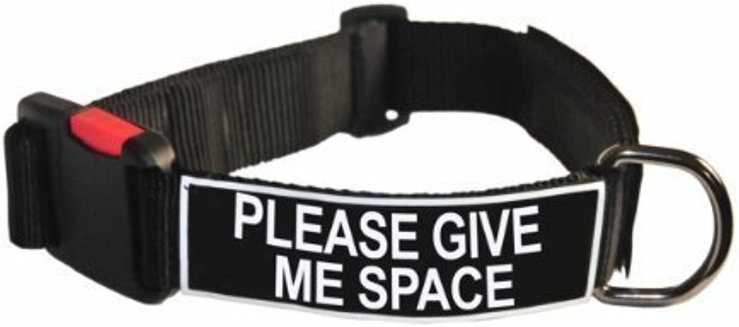 Dean and Tyler Patch Collar , Nylon Dog Collar with PLEASE GIVE ME SPACE Patches  Black  Size  Large  Fits Neck 26Inch to 37Inch