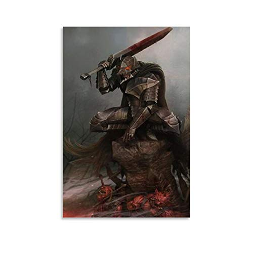 Berserk Guts Wolf Armor Poster Canvas Art Poster and Wall Art Picture Print Modern Family Bedroom Decor Posters 08x12inch(20x30cm)