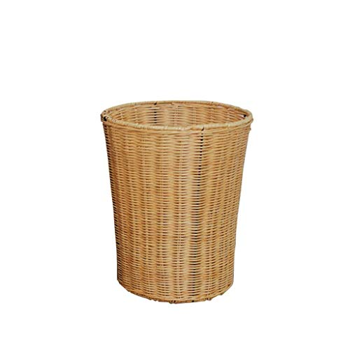 zxb-shop Garbage Bin for Kitchen, Office, Home Bamboo and Rattan Woven Garbage Bin Round Home Living Room Bedroom Office Wastebasket Silent and Gentle Open and Close (Color : Yellow, Size : 12)