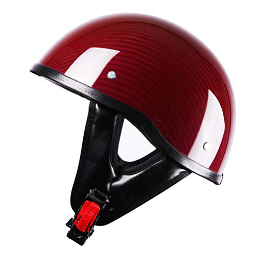ZXH Half Helmet Motorcycle Carbon Fiber Helmet, DOT Approved Open-Face Motorcycle Helmet Adult Men and Women Retro Street Riding Half Helmet,Red,55—60