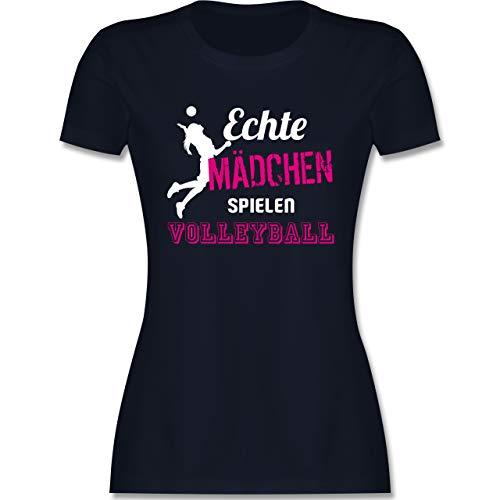 Volleyball - Echte Mädchen Spielen Volleyball - XL - Navy Blau - Tshirt Volleyball - L191 - Tailliertes Tshirt für Damen und Frauen T-Shirt