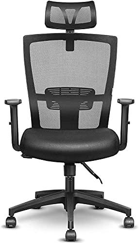 mfavour Silla de oficina ergonómica, giratoria con reposacabezas ajustable, altura regulable y función basculante, respetuosa con la espalda (negro + gris)