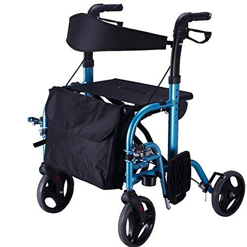 Bastidor para caminar Polea plegable con asiento Diseño de base de refuerzo a prueba de salpicaduras Freno bloqueable Carro de compras para hombre mayor