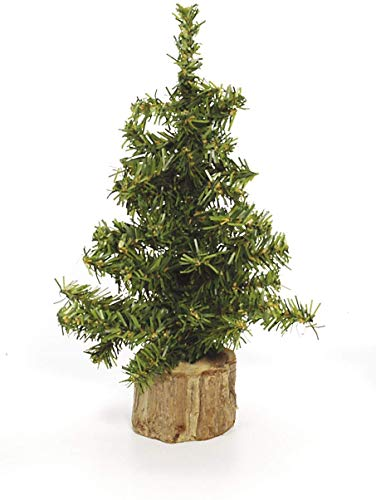 """Darice Mini Canadian Pine Tree with Wood Base (1pc), Green – Spread Holiday Décor Around Your Home – Artificial Tree Has 49 Tips and Works Great with Mini Ornaments and Lights, 8"""""""