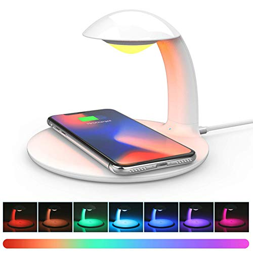 PElight Led-bureaulamp, snelle, draadloze oplader, draadloze oplader met 7 verschillende lampen, oogbescherming