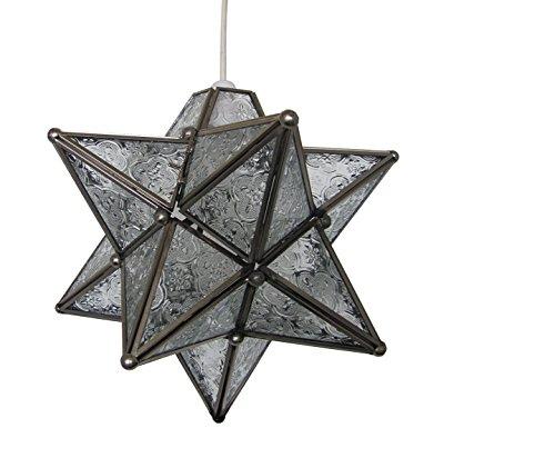 Pmgs3 moucheté 28 cm en verre en forme d'étoile en laiton antique