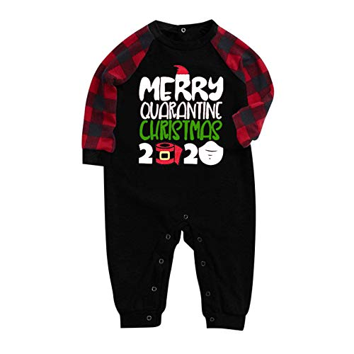 Family Matching Christmas Pajamas for Mens Women Merry Quarantine Christmas 2020 Sleepwear Kids PJs Set(Baby|Black, 12-18 Months)