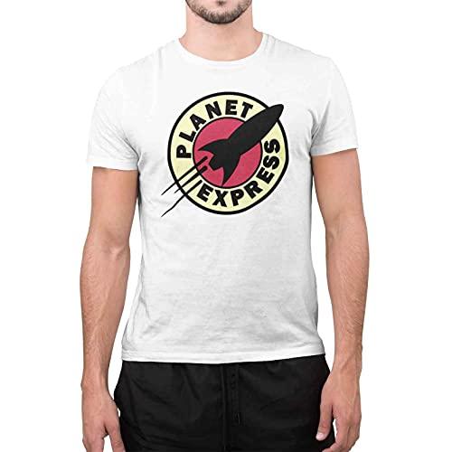 CHEMAGLIETTE! T-Shirt Uomo Divertente Maglietta Maniche Corte 100% Cotone con Stampa Planet Express Bianco, M