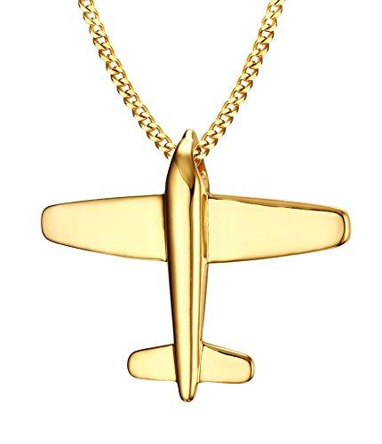 Vnox Halskette mit Anhänger aus Edelstahl, Motif: Spitfire, Flugzeug, Papierflugzeug, kubanische Kette, unisex für Herren und Damen