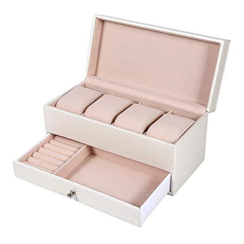 ZRDSZWZ Caja de reloj confiable, 4 ranuras caja de almacenamiento de reloj de cuero con cajón organizador de joyas contenedor para anillos, pendientes, collares, pulseras y otras joyas (blanco)