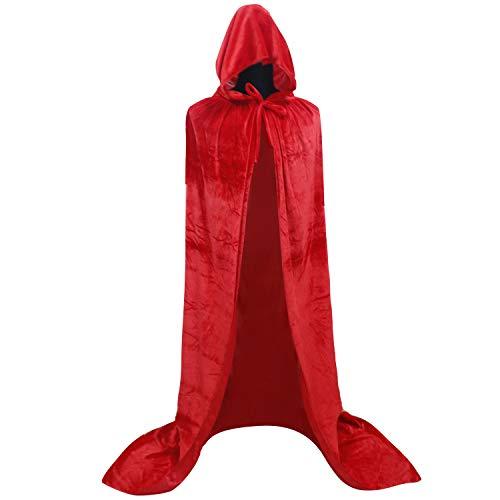 GraduatePro Rotkäppchen Kostüm Prinzessinnen Umhang Cape mit Kapuze Rot Damen Lange Vampir Fasching Karneval für Halloween Kleid Unterrock Mantel Poncho Kap