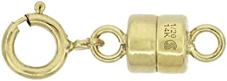 14k Gold-Filled 4 mm Magnetic Clasp Converter for Light Necklaces USA, Square Edge 5.5 mm Spring Ring