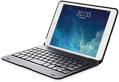 LOMQIT Tastatur H lle f r iPad Mini 1 2 3  kabellose Bluetooth-Tastaturh lle mit Klappst nder und automatischer Schlaf- Weckfunktion Schwarz