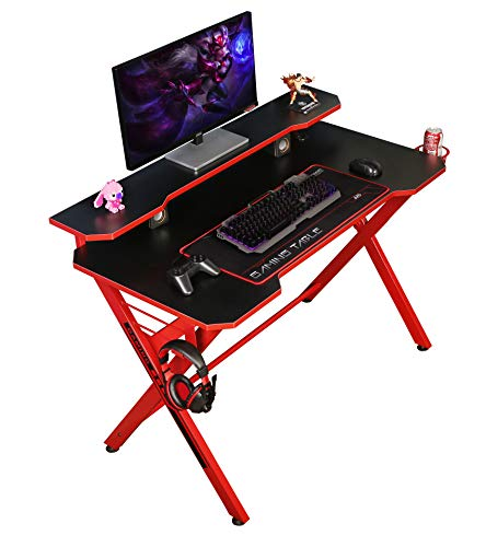 """JJS 48"""" Home Office Gaming Computer Desk with Removable Monitor Stand, X Shaped Large Gamer Workstation PC Table with Cup Holder Headphone Hook Speaker Storage Free Mouse Pad, Red"""