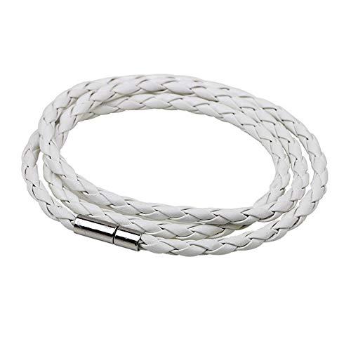 YLA geflochtenes Lederarmband, Herren-Armband für Damen, Schmuck, mehrlagige Lederverschlüsse weiß
