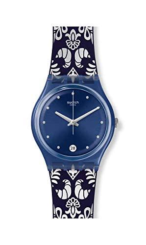 Swatch Damen Analog Quarz Uhr mit Silikon Armband GN413