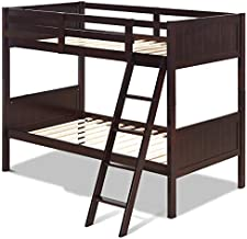 GOFLAME Twin Over Twin Bunk Beds, Convertible Into Two Individual Solid Rubber Wood Beds, Children Stylish Sleeping Bedroom Furniture with Ladder and Safety Rail for Kids Bedroom (Espresso)