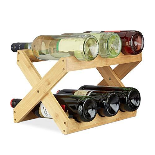 Relaxdays Weinregal Bambus, X Shape, 8 Flaschen, Landhaus-Stil, klein, Flaschenregal faltbar, HBT 22 x 36 x 20 cm, natur