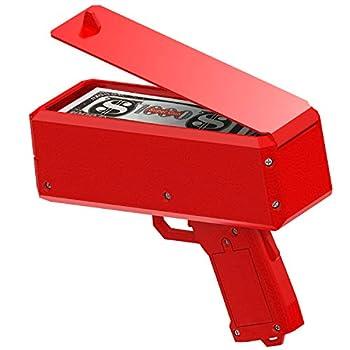 Oktico Global Red Money Gun Paper Playing Spray Prop Money Gun Make it Money rain Toy Gun with Pack of 100 pcs of Play Money Cash Gun for Party
