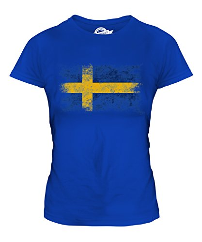 Candymix Schweden Weinlese Flagge Damen T Shirt, Größe Medium, Farbe Königsblau