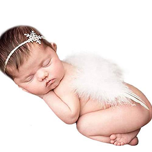 Accesorios para fotografía de bebé recién nacido Fashband Alas de bebé Alas de ángel de plumas con cristal de nieve Diadema de diamantes de imitación para bebé Niña Niño Niño