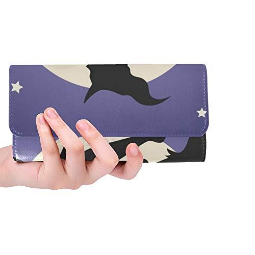 Einzigartige benutzerdefinierte Schwarze Silhouette schöne Glamour Hexe Fliegende Frauen Trifold Wallet Lange Geldbörse Kreditkarteninhaber Fall Handtasche
