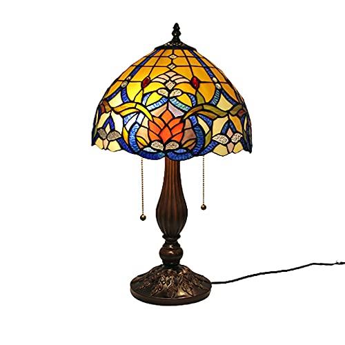 XINGS Lámpara Mesa Estilo Tiffany con Mosaico Turco lámpara de cabecera con vitrales Sala Estar Dormitorio Base Metal Industrial Granja luz Escritorio estética Amarilla Antigua