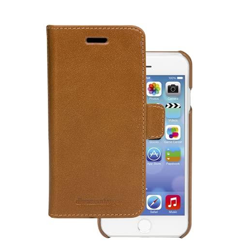 dbramante1928 - Lynge Hülle für iPhone SE/8/7/6 - Klapphülle aus robustem, hochwertigem Leder - Mit Kartenfach - Brieftasche sowie Schutzhülle - Braun