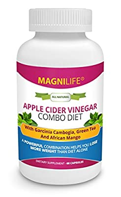 MagniLife Apple Cider Vinegar Combo Diet All-Natural Weight Loss Supplement with Garcinia Cambogia, Green Tea & African Mango - Appetite Suppressant, Metabolism Boost & Fat Burner - 60 Capsules