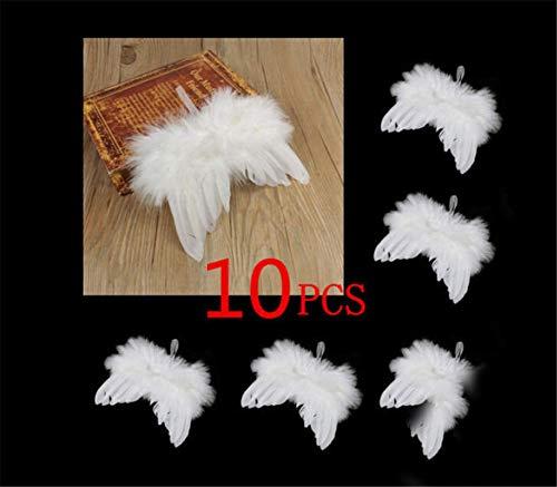 douleway 10 Stücke Mini Schutzengel Weiße Engels-Feder-Flügel, Weihnachtsbaum Hängende Ornament Dekoration für Party und Hochzeitsdekoration